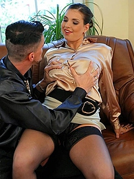 Brunette babe getting a load of spunk on her silk shirt pictures at freekiloclips.com