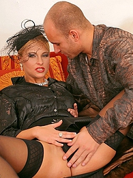 Blonde babe in black silk sucking cock and getting fucking pictures