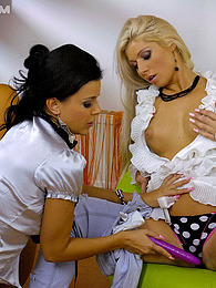 Lesbian hottie drilling her soaked snatch with sex toys pictures at sgirls.net