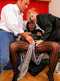 Two sexy babes in hardcore silk fetish threesome action pictures at dailyadult.info