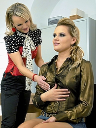 Two cute clothed hotties love banging at the office desk pictures at kilomatures.com