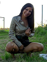 A daring chick loves shagging at a local airport outdoors pictures