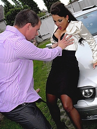 Fully clothed daring babe shagging horny chap on his car pictures