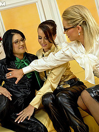Clothed pretty lesbians love stroking each others boobs pics
