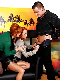 Lucky horny guy railing two willing horny redheads hard pictures at lingerie-mania.com