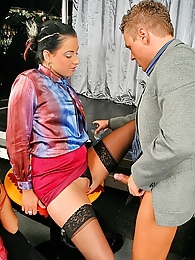 Two hot clothed dancers fuck and suck drunk horny dudes pictures at freekilosex.com