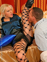 Blonde sucking and getting fucked deep in her black panties pictures at freekilomovies.com