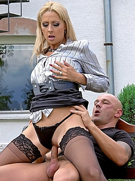 Bald dude enjoys banging a gorgeous clothed beauty hard pics