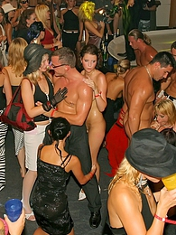 Pretty drunk chicks shagging strippers on the club stage pictures at freekilosex.com