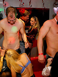 Group of drunk babes nailed hard by horny male strippers pictures at freekilosex.com