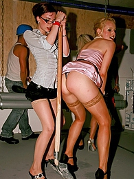 Crazy clothed girls banging dudes at very busy dance club pictures at find-best-panties.com