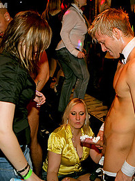 Stroking and licking a stiff penis hardcore during a party pictures at kilopills.com