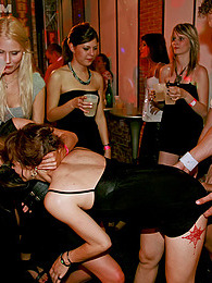 Clothed chicks playing with klarge stiff peckers at a club pictures