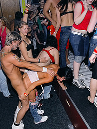 Intoxicated horny clothed chicks sucking cocks at a party pictures at adspics.com