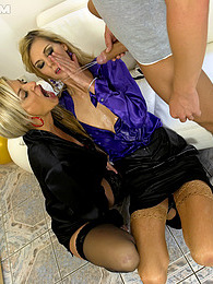 Crazy chicks and a horny dude pissing in a hot threesome pictures at freekilosex.com