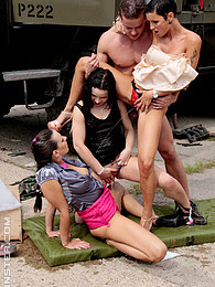 Pretty chicks peeing and screwing near a broken down car pictures at dailyadult.info