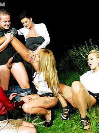 Three babes and a guy have drinks and sex outside then piss pictures at find-best-hardcore.com