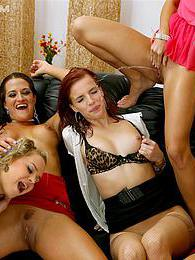 A bunch of sexy babes show boobs and piss on each other pictures at kilogirls.com