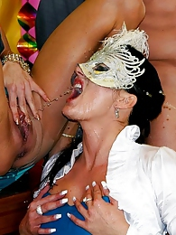 They all have masks and piss in each other's mouth and body pictures at lingerie-mania.com