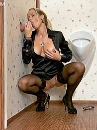 A cute clothed willing sweetie fucked in a public toilet pictures
