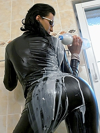 Fetish sexy babe pouring milk around their clothed bodies pics