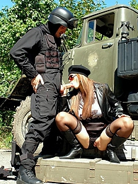 Daring horny cutie fucking the army guy outdoors hardcore pictures at freekilomovies.com