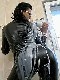Horny milk drinking cutie rides his giant stiff schlong pictures at adspics.com