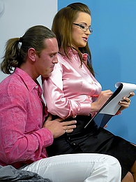 Horny daring dude shagging a clothed secretary hardcore pictures at adspics.com