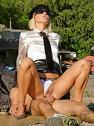 Sexy blonde beauty fucked by a soldier outdoors hardcore pics