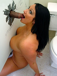BBW Holly E interracial gloryhole blowjob and cumeating pictures