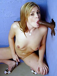Blonde Isobel interracial gloryhole blowjob and cumeating pictures