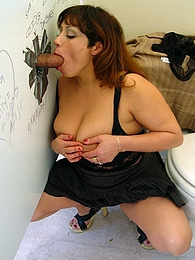 BBW Ms Tia gives interracial gloryhole blowjob eats cum pictures at kilosex.com