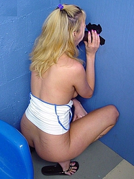 Blond Trinity interracial gloryhole cumeating blowjob pictures at freelingerie.us