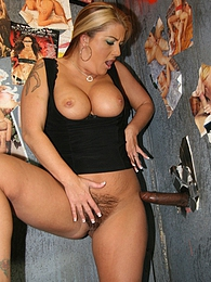 Blonde MILF Joclynn Stone sucks off black dick in gloryhole pictures at find-best-lesbians.com