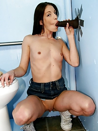 Brunette Brandy Lyons in interracial fuck and suck off in gloryhole pictures at adspics.com