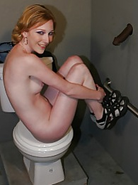 Blonde Alexa Lynn sucks off black dick in bathroom gloryhole pictures at dailyadult.info