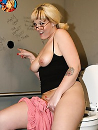 Candy Rocks sucks off black in bathroom gloryhole pictures at find-best-mature.com