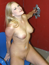 Blonde Estelle interracial gloryhole blowjob and cumeating pictures at kilomatures.com