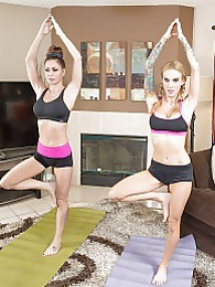 Yoga With Sarah P - Pussy licking, kitties grabbing and lots of cum pictures at lingerie-mania.com