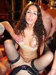 Sweet Nikki fucking a chick in a crazy UK gangbang pictures at kilosex.com