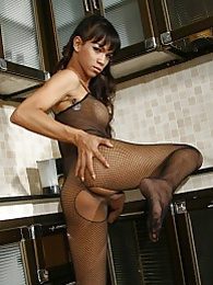 Exotical brunette Maya posing in sexy fishnet pictures at lingerie-mania.com