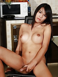 Exotic tgirl Cream strips and jerks pictures at sgirls.net