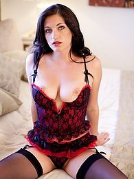 Stunning busty brunette Brook Simmons in stockings pictures at find-best-lingerie.com
