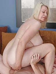 Horny blonde granny Angelique gets fucked hard pictures