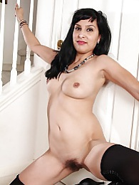 Hairy MILF Penelope Patterson in only black stockings pictures at dailyadult.info