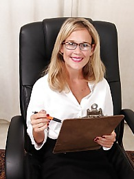 Office MILF Katherine Jackson butt naked on her desk pictures at find-best-lingerie.com