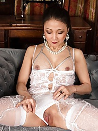 Asian wife Aya May naked in white stockings pictures at lingerie-mania.com