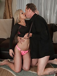 Blonde cougar Alana Luv riding his big cock pictures at kilomatures.com