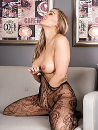 Busty cougar Beth Bennett naked in black stockings pictures at find-best-mature.com