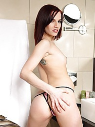 Small breasted babe Leila Smith masturbates in the bathroom... pictures
